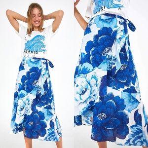 NWT Farm Rio Blue Floral Azulejo Wrap Midi Skirt